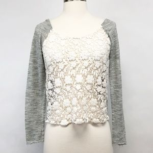 free people | crochet front lace front boho top XS